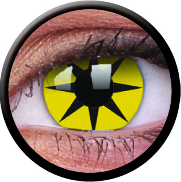 ColourVue Crazy čočky - Yellow Star (2 ks roční) - nedioptrické - poškozený obal