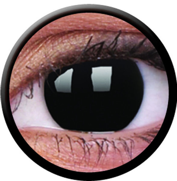 ColourVue Crazy čočky - Blackout (2 ks jednodenní) - nedioptrické - poškozený obal