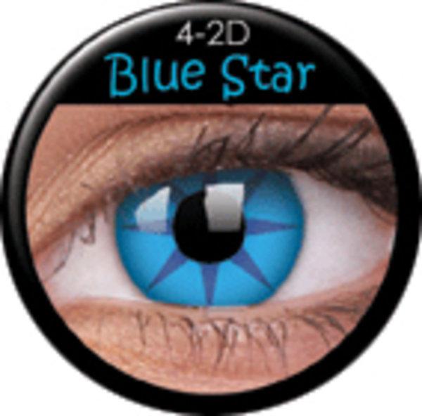 ColourVue Crazy čočky - Blue Star (2 ks roční) - nedioptrické-poškozený obal