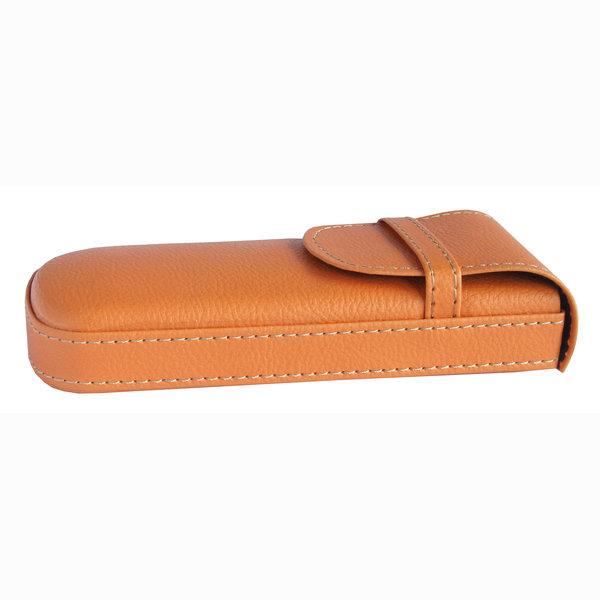 Pouzdro na brýle pevné kožené Frank - oranžové