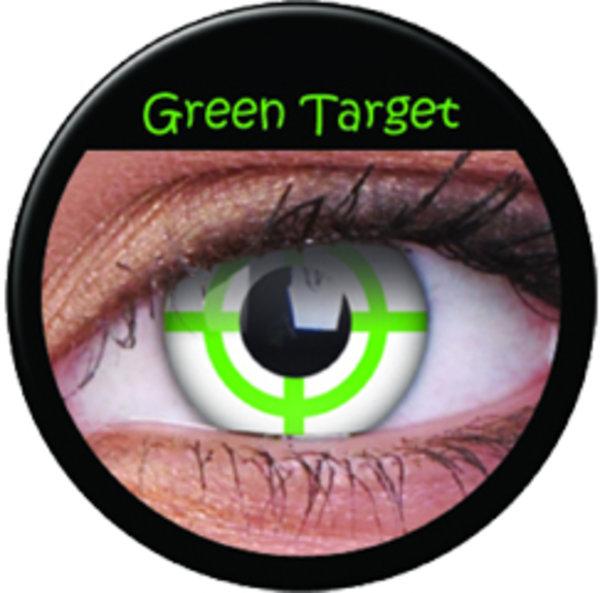 ColourVue Crazy čočky - Green Target (2 ks roční) - nedioptrické