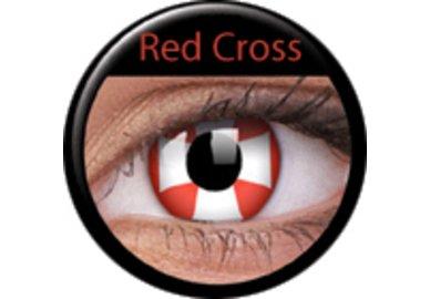 ColourVue Crazy čočky - Red Cross (2 ks roční) - nedioptrické