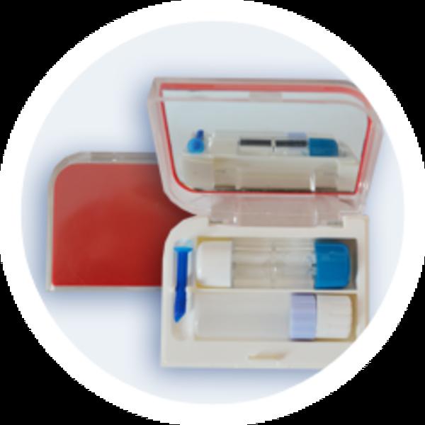 Pouzdro na tvrdé kontaktní čočky sestava - Červené