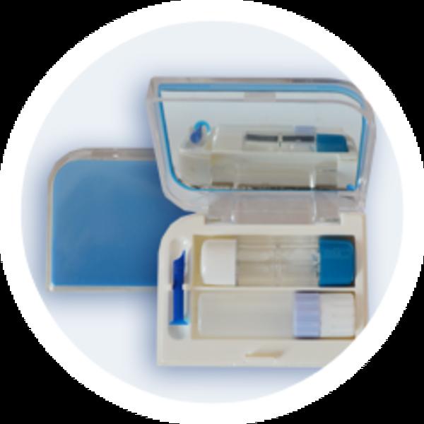 Pouzdro na tvrdé kontaktní čočky sestava - Modré