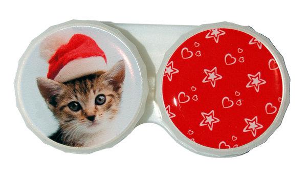 Klasické pouzdro motiv Vánoce - Kočka žíhaná s čepicí
