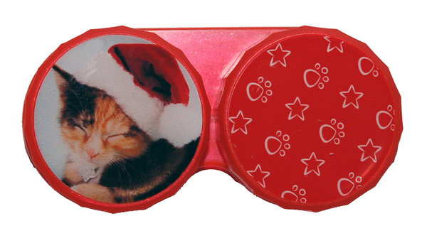 Klasické pouzdro motiv Vánoce - Kočka tmavá s čepicí