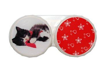 Klasické pouzdro motiv Vánoce - Ležící kotě s šálou