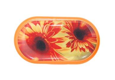 Pouzdro se zrcátkem motiv květy - Gerbera