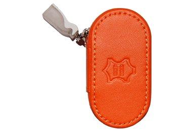 Kožené pouzdro se zrcátkem - Oranžové
