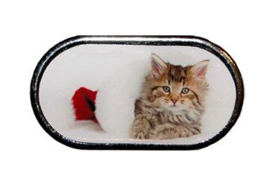 Pouzdro se zrcátkem Vánoční motiv - Kotě ležící v kulichu