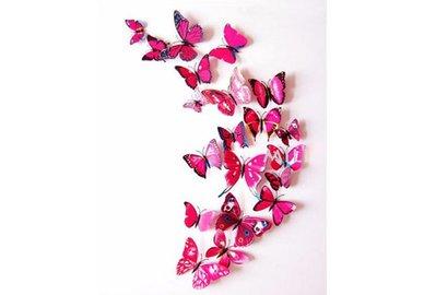 Dekorativní motýlci na zeď 3 kusy - barva růžová