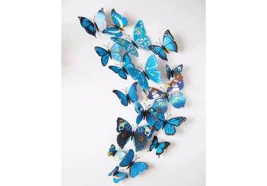 Dekorativní motýlci na zeď 3 kusy - barva modrá
