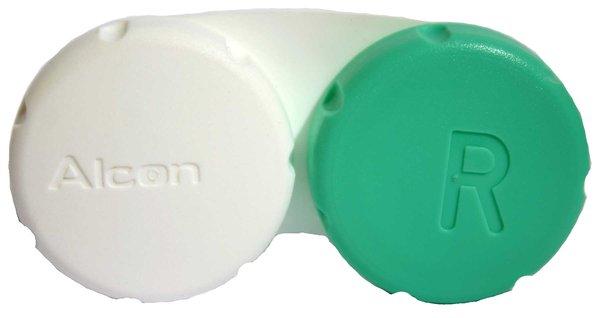 Pouzdro na kontaktní čočky zeleno-bílé